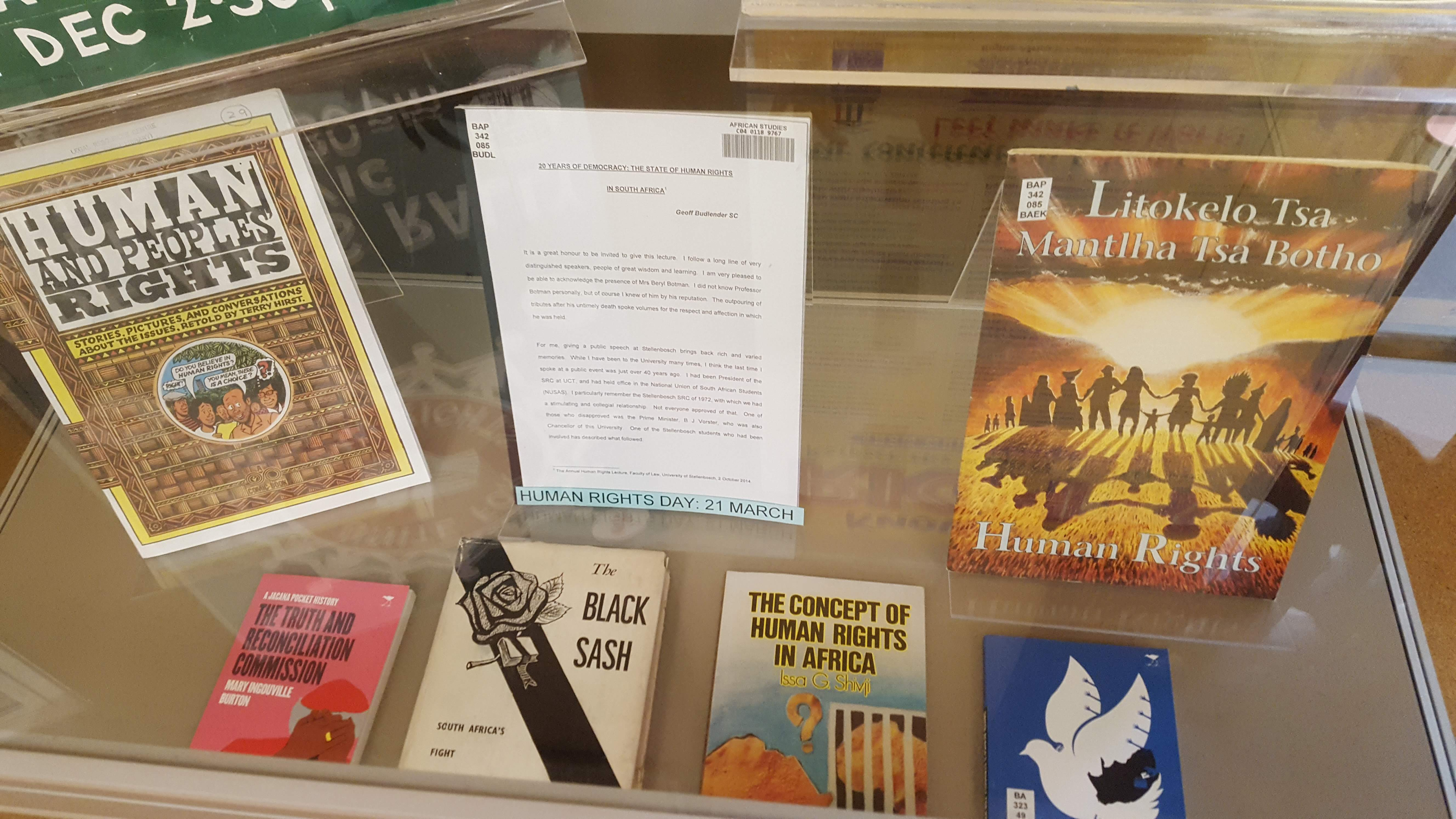 Books about human rights on display