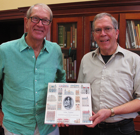 Visit to UCT Special Collections by author Howard Parker, to hand over new book on the life and architecture of John Parker.