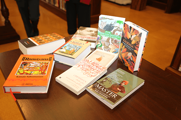 India Corner with indian books on table in Special Collection