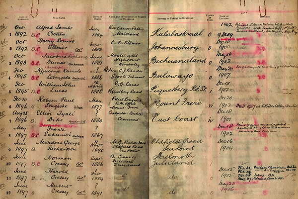 Zonnebloem College admission register with entries recording admission of children of chiefs from all over southern Africa, including the prominent Cressy family